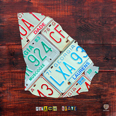 Peach Mixed Media - Georgia The Peach State License Plate Map On Fruitwood by Design Turnpike
