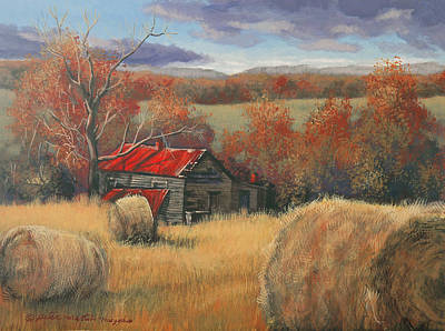 Egg Tempera Painting - Georgia Valley In Autumn by Peter Muzyka