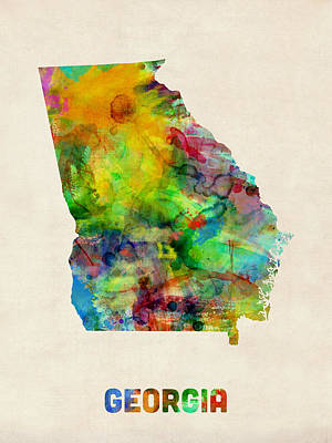 United States Map Digital Art - Georgia Watercolor Map by Michael Tompsett