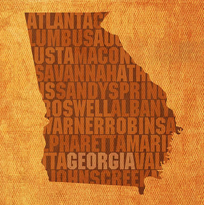 Word Art Mixed Media - Georgia Word Art State Map On Canvas by Design Turnpike