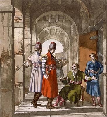 Georgian Men Chatting And Smoking In An Art Print