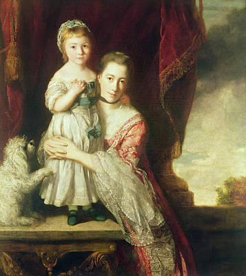 Georgiana, Countess Spencer With Lady Georgiana Spencer, 1759-61 Oil On Canvas Art Print by Sir Joshua Reynolds