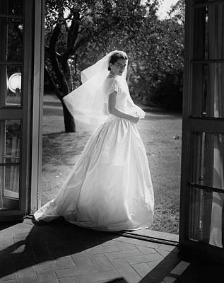 Landscape Photograph - Geraldine Kohlenberg Wearing A Wedding Dress by Horst P. Horst