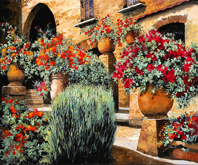Orange Flower Wall Art - Painting - Gerani Sulle Scale by Guido Borelli
