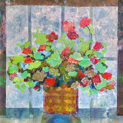 Geranium In The Window Art Print by Karen Koch