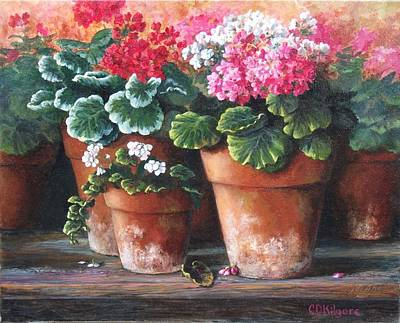 Terra Painting - Geranium Party by Dianna Kilgore