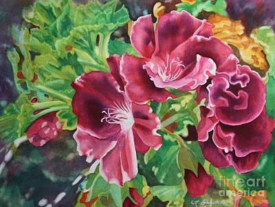 Red Geraniums Painting - Geranium Riot  by Amanda Schuster