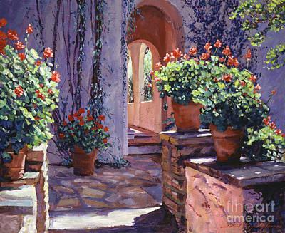 Terra Cotta Painting - Geranium Walkway by David Lloyd Glover