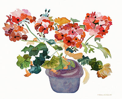 Flower Painting - Geranium Watercolour by Barbara McMahon