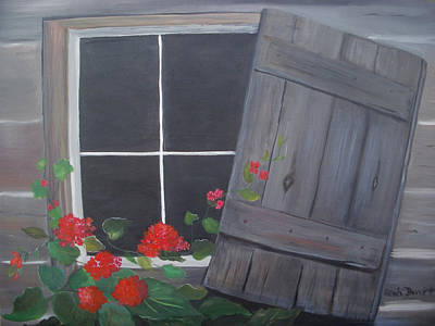 Geraniums At Log Cabin Art Print by Glenda Barrett