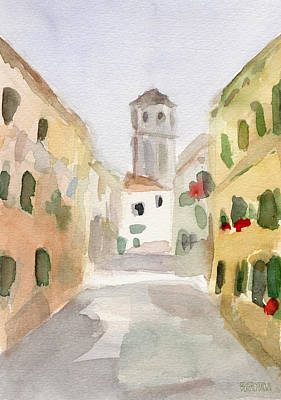 Geraniums Cannaregio Watercolor Painting Of Venice Italy Art Print