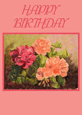 Painting - Geraniums Card by Ruth Soller