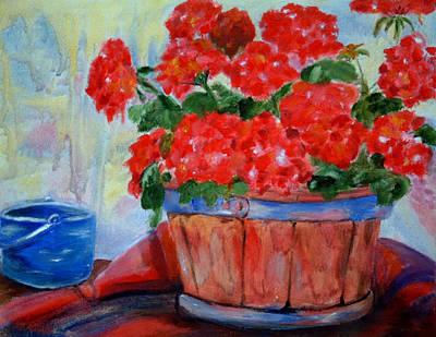 Geraniums Art Print by Enzie Shahmiri