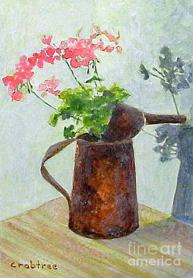 Painting - Geraniums In Copper Pot  by Elizabeth Crabtree