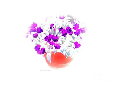 Digital Art - Geraniums In Flower Pot Painting by Annie Zeno