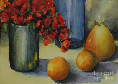 Geraniums With Pear And Oranges Art Print by Maria Hunt