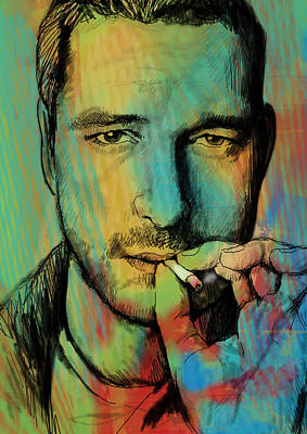Gerard Butler - Stylised Pop Art Drawing Sketch Poster Art Print by Kim Wang