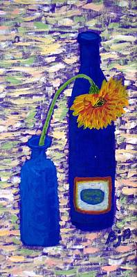 Art Print featuring the painting Gerbera And Zinfandel by Brenda Pressnall