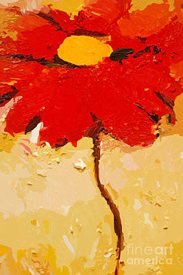 Red Flowers Mixed Media - Gerbera Art by Lutz Baar