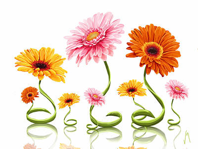 Natural Art Painting - Gerbera Daisy by Veronica Minozzi