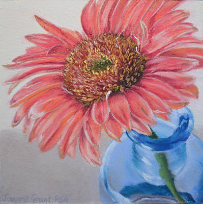 Painting - Gerbera Daisy With Blue Glass by Joanne Grant