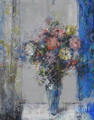 Blue Painting - Gerbera by Grigor Malinov