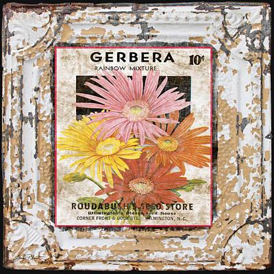 Gerbera On Vintage Tin Art Print