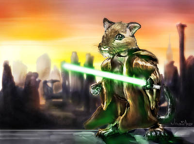 Gerbil Painting - Gerbil Jedi by Wesley S Abney