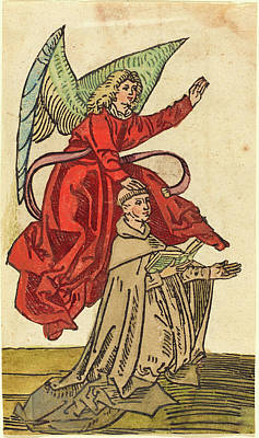 German 15th Century, A Monk With An Angel, 1480-1490 Art Print by Quint Lox