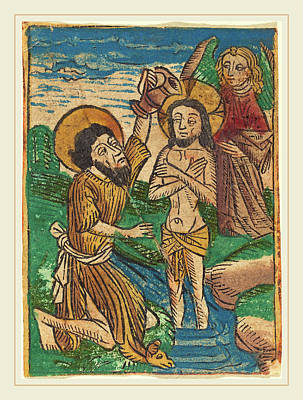 Baptism Drawing - German 15th Century, Baptism by Litz Collection