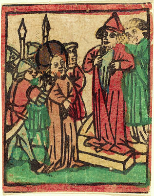 Tears Drawing - German 15th Century, Caiaphas Tearing His Clothes, Probably by Quint Lox