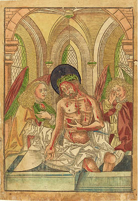 German 15th Century, Christ In The Tomb With Two Angels Art Print