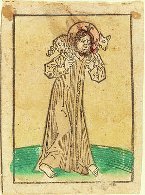 Warm Colors Drawing - German 15th Century, Good Shepherd by Quint Lox