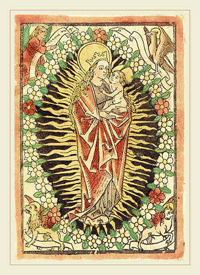 German 15th Century, Madonna And Child In A Rosary Art Print by Litz Collection