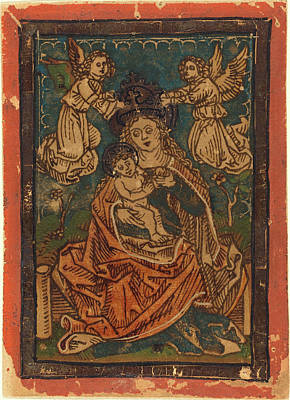 German 15th Century, Madonna And Child Seated On A Grassy Art Print