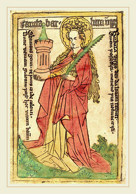 Saint Barbara Wall Art - Drawing - German 15th Century, Saint Barbara, 1440-1460 by Litz Collection