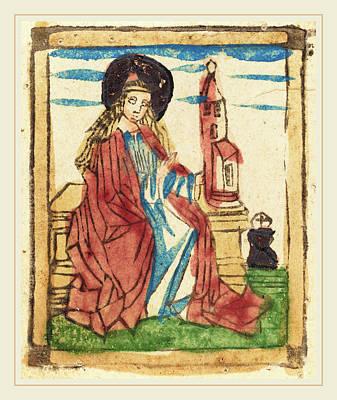German 15th Century, Saint Barbara, 1460-1470, Woodcut Art Print by Litz Collection