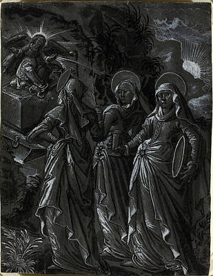 Wash Drawing - German 16th Century, The Three Women At The Tomb Recto by Quint Lox