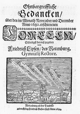 Book Title Photograph - German Book On The Comet Of 1680 by Royal Astronomical Society