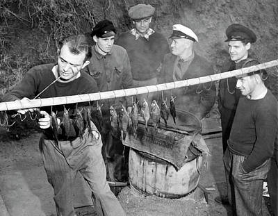 San German Photograph - German Crew Fishes In Sf by Underwood Archives