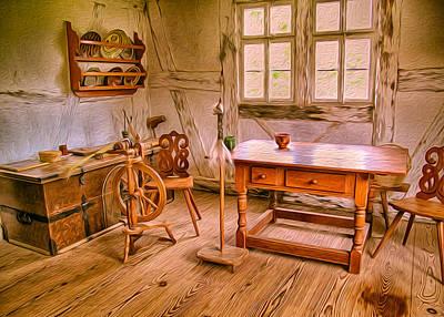 Painting - German Farmhouse Interior by Omaste Witkowski