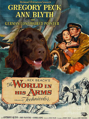 Painting - German Longhaired Pointer Art Canvas Print - The World In His Arms Movie Poster by Sandra Sij