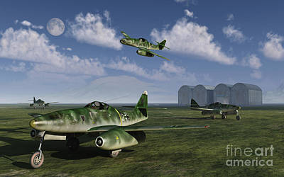 German Messerschmitt Me 262 Jetfighters Art Print