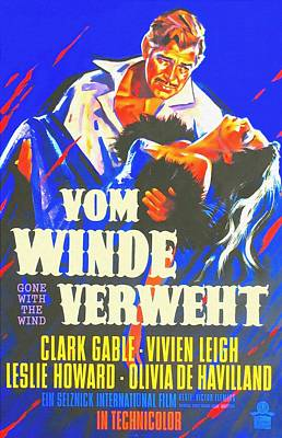 German Poster Of Gone With The Wind Art Print by Art Cinema Gallery