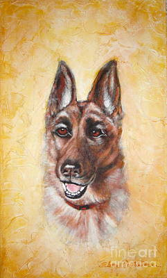 Painting - German Shepard Portrait Lala by Elena  Constantinescu