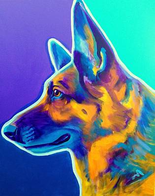 Domesticated Animal Painting - German Shepherd - Schatze by Alicia VanNoy Call