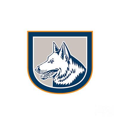 Dog Head Digital Art - German Shepherd Dog Head Shield Retro by Aloysius Patrimonio