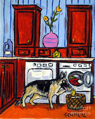 Laundry Painting - German Shepherd Doing The Laundry by Jay  Schmetz
