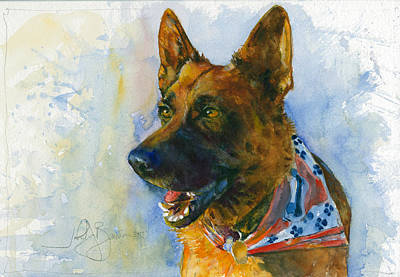 Painting - German Shepherd by John D Benson