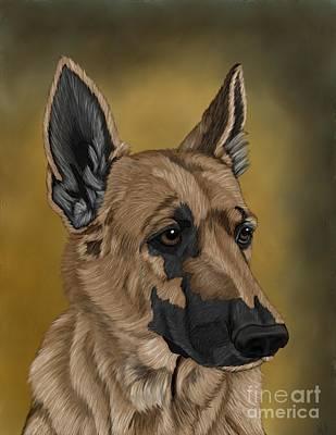 Canine Art Digital Art - German Shepherd by Karen Sheltrown